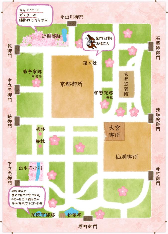 Carte du jardin du palais impérial de Kyoto et de ses différents sakura