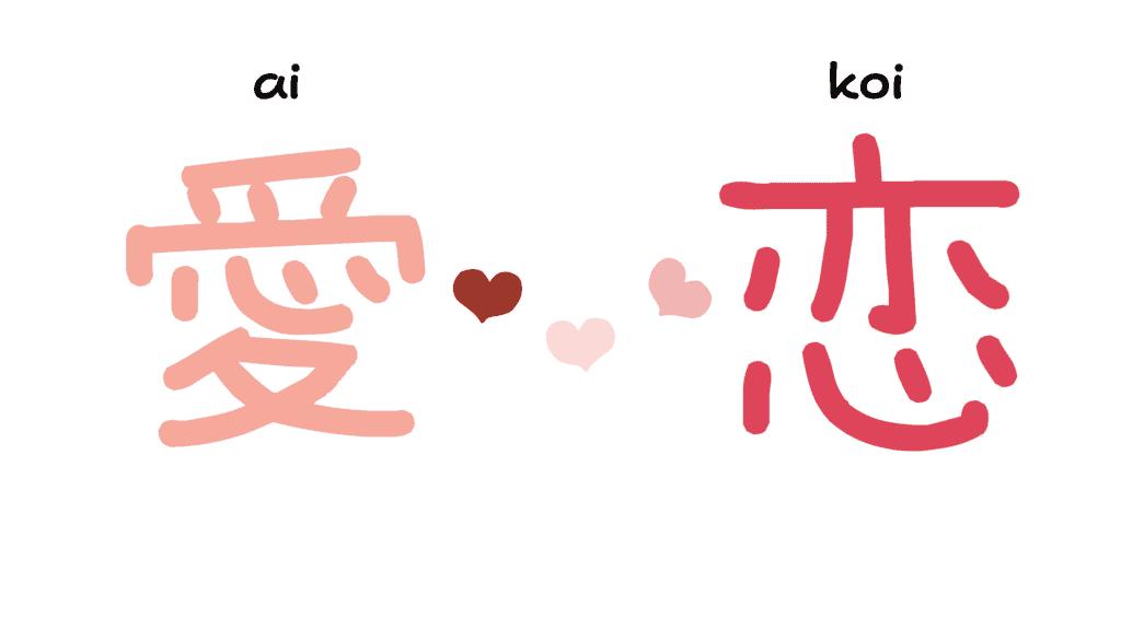 Les kanji de l'amour: ai et koi