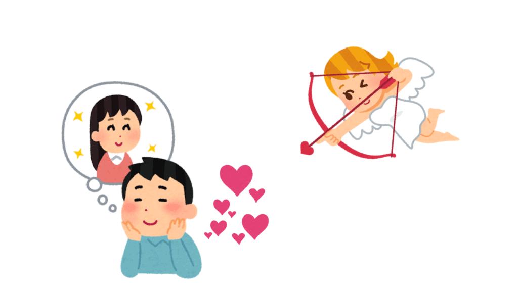 Un homme pense à son amoureuse, visé par la flèche du cupidon japonais