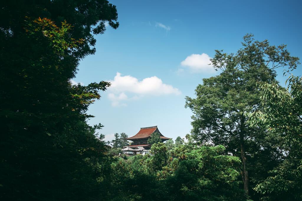 Le temple Kinpusen-ji de Yoshino, vu de loin encadré par des arbres