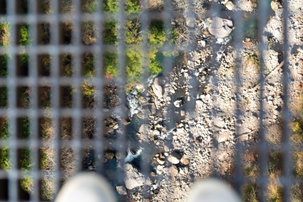 vue de la valée depuis le sol grillagé du pont suspendu