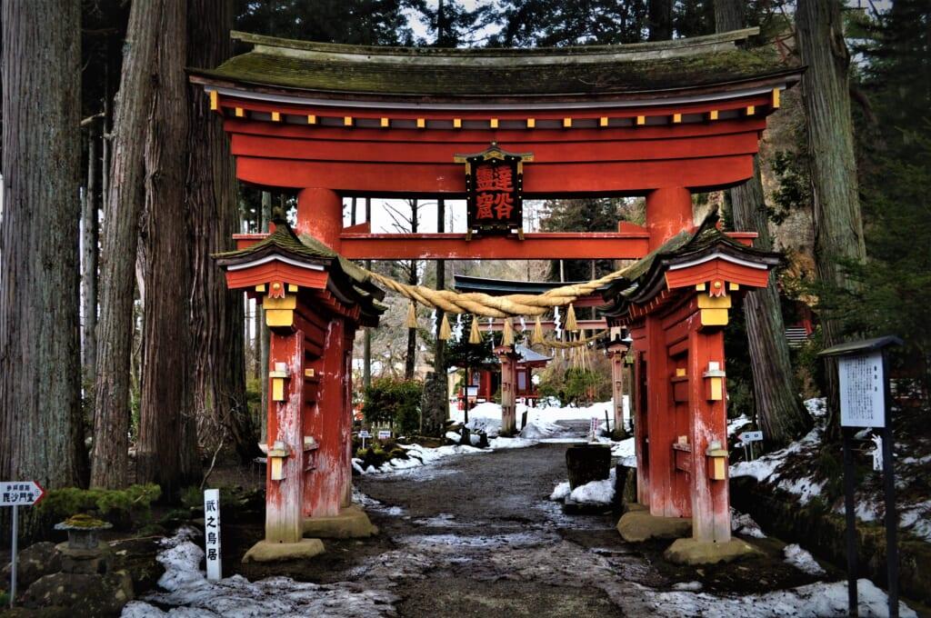 Torii à l'entrée du Takkoku no Iwaya