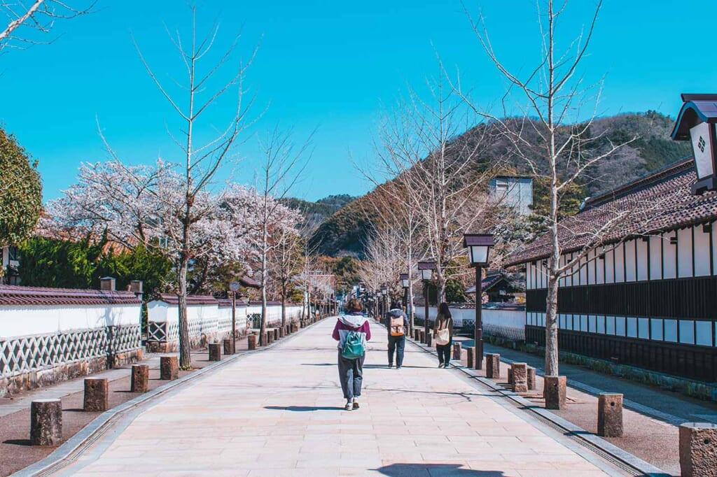 La rue Tonomachi à Tsuwano, bordée de maisons de samouraïs