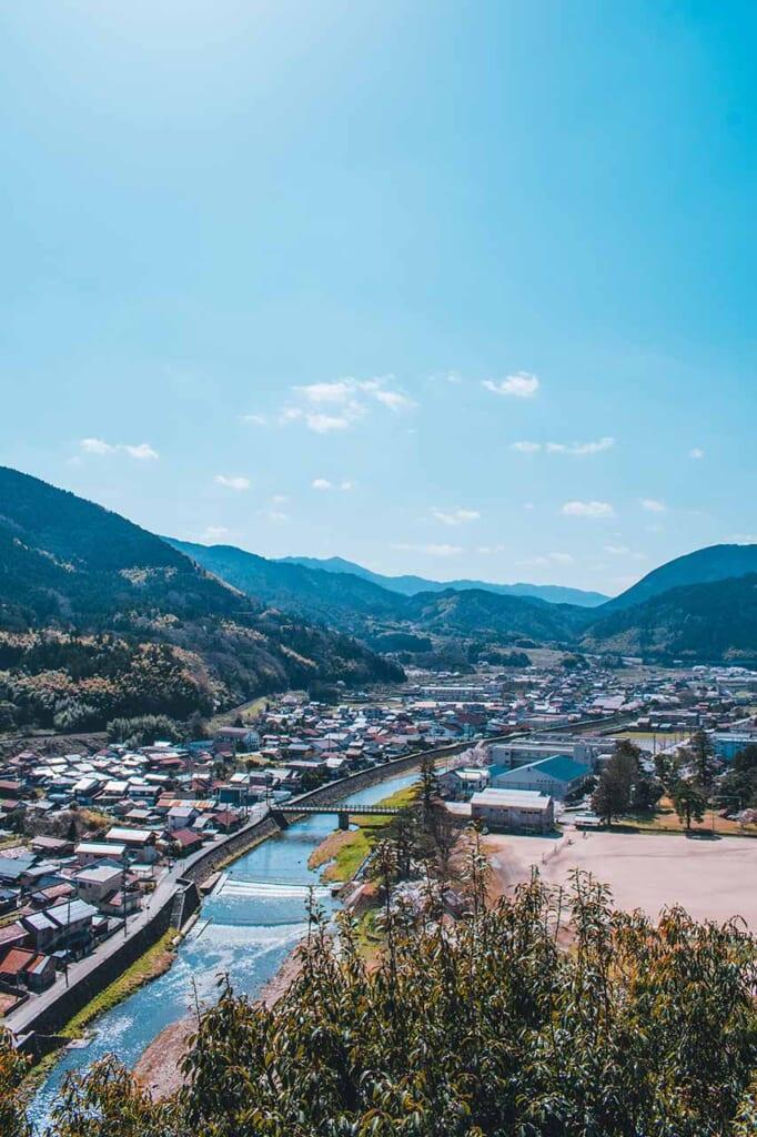 Vue sur Tsuwano depuis le sanctuaire Taikodani Inari