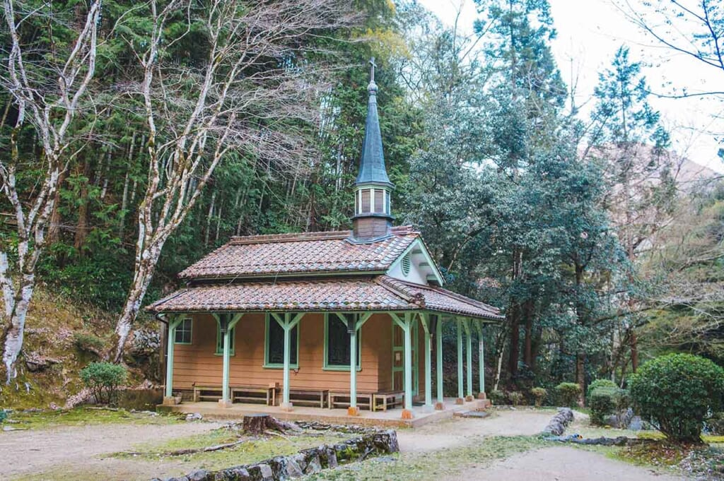 La chapelle Sainte Marie d'Otome Touge de Tsuwano, de style occidental avec un toit japonais.