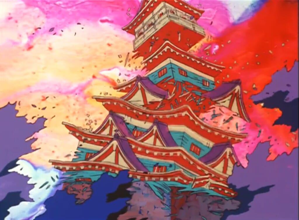Destruction du château de Hiroshima dans l'adaptions animée de Gen d'Hiroshima