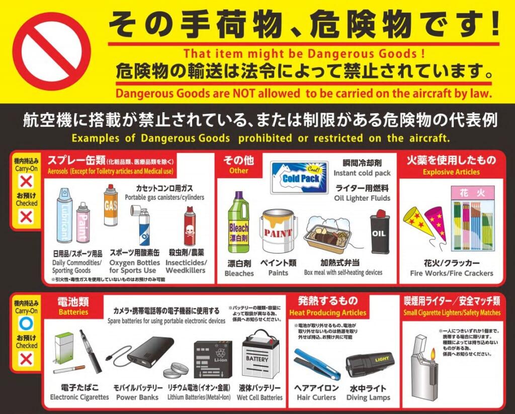 Les objets interdits lors d'un vol pour le Japon, partie 1