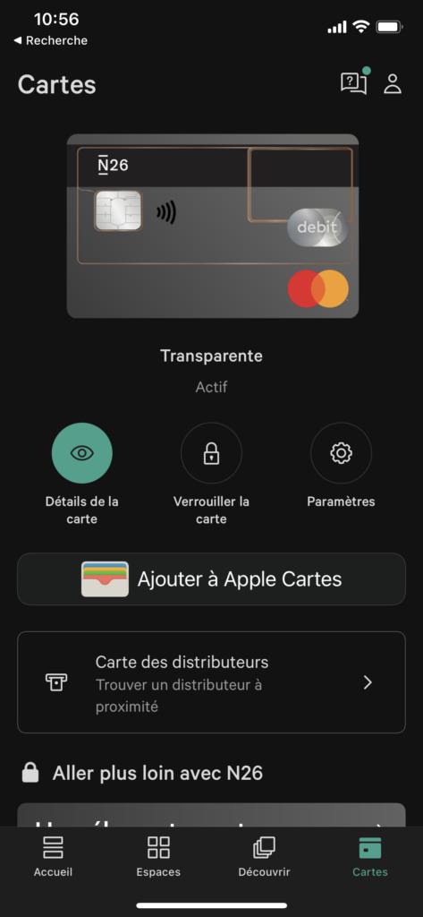 écran de gestion de carte de l'application d'une banque en ligne