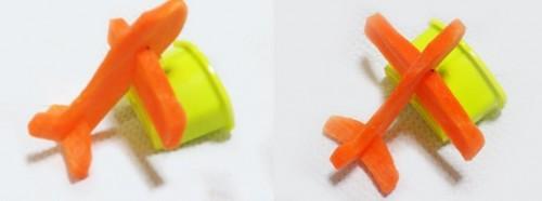 Avión hecho con zanahora para una caja bento
