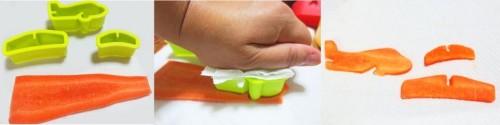 Cortando una zanahoria con un molde para crear formas