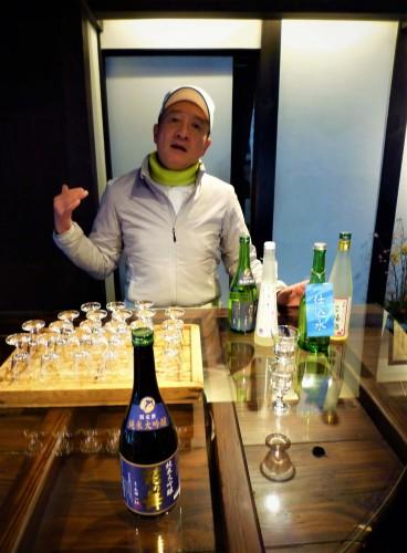 Degustación de sake en Hananomai, Shizuoka.