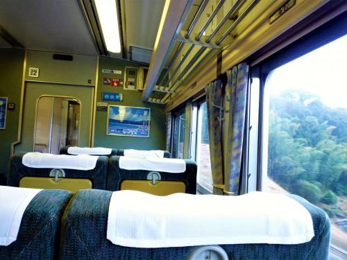 Interior del tren Odoriko en Shizuoka.