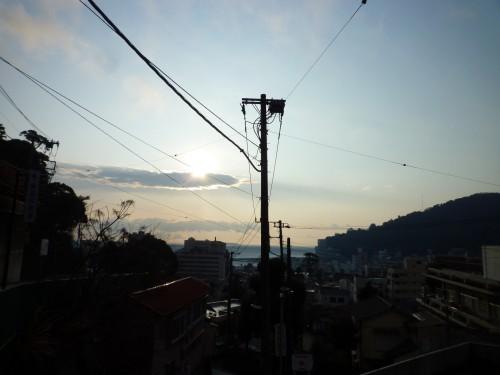 Vista de Atami al atardecer, en Shizuoka.