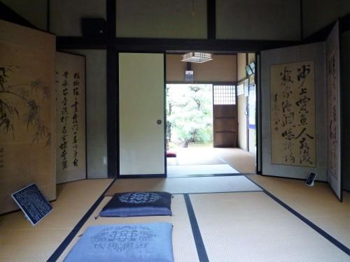 Interior de una vivienda feudal en el parque conmemorativo Kinen-koen de Murakami.