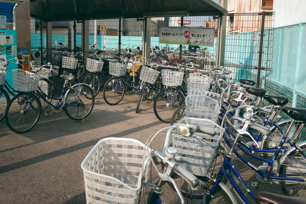 Una estación de bicicletas en Sakai