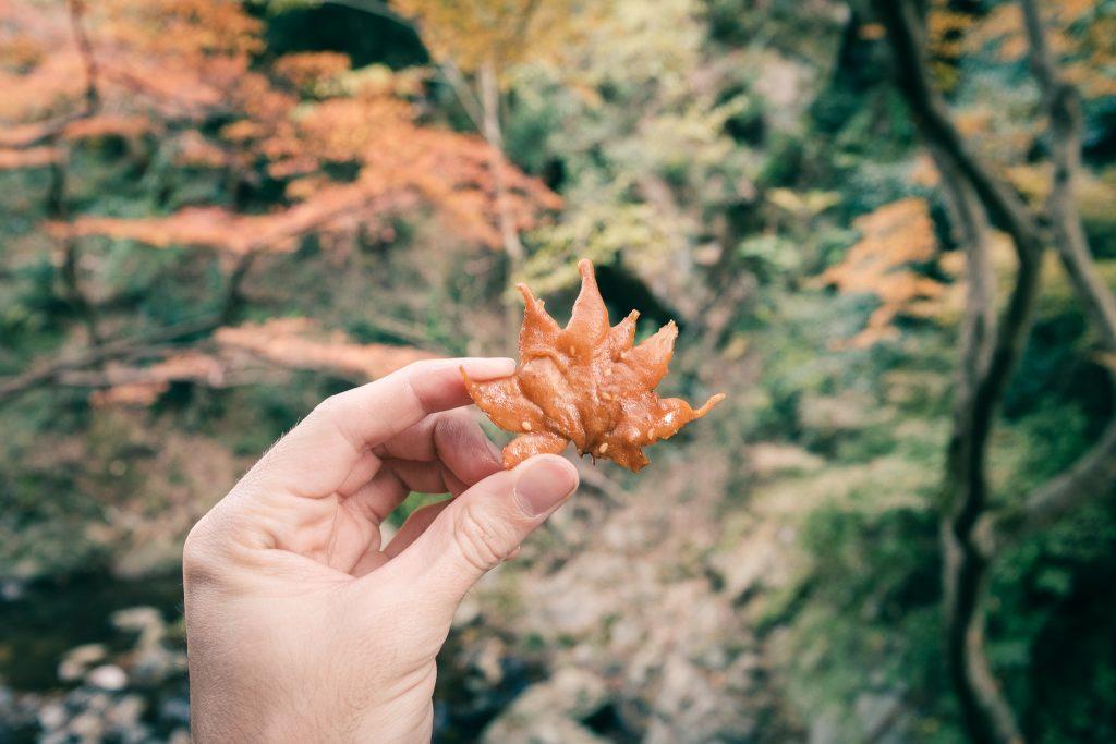 El aspecto de las hojas de arce rebozadas en Osaka