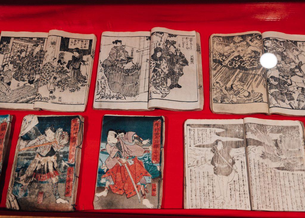 unos manga antiguos en una residencia samurai de Kakunodate