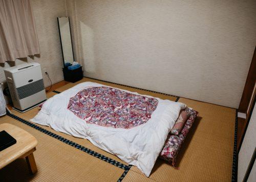 Habitación al hostal Yodel, Tazawako, Semboku, Akita, Tohoku, Japón.