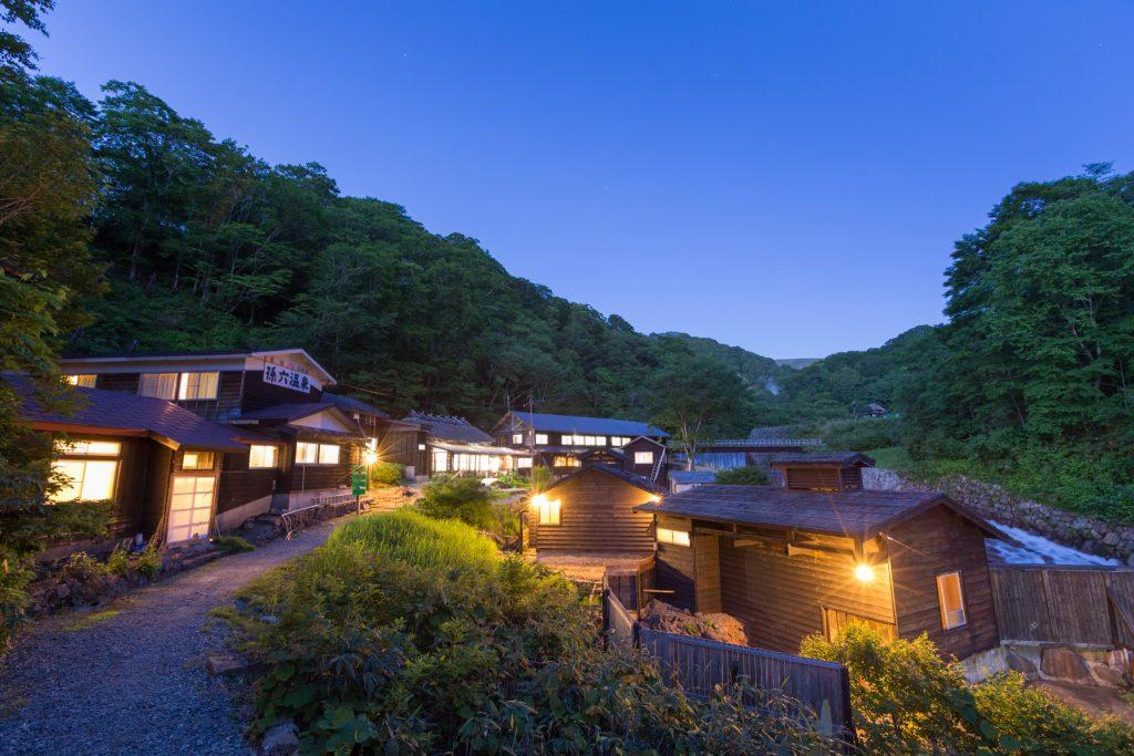 La zona onsen en Nyuto Onsen en Akita