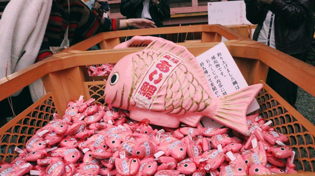 omikuji en forma de pescado