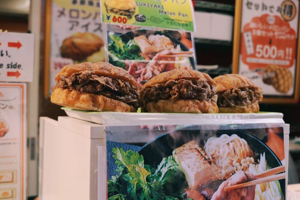 Un melon pan de carne de Asakusa