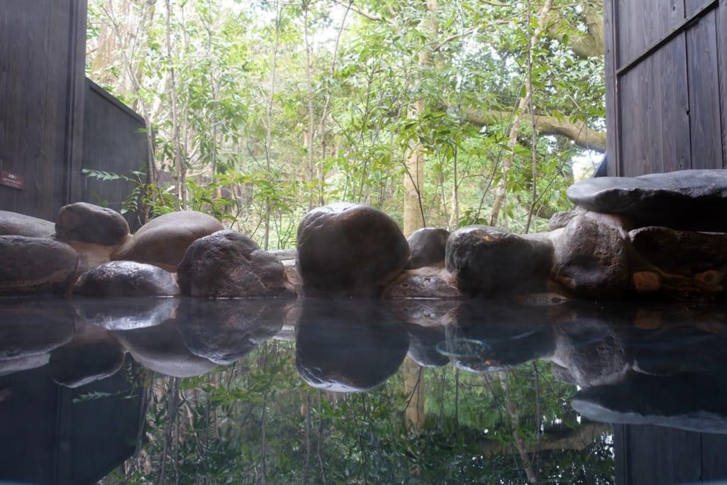 Onsen privado rodeado de naturaleza en Hakone, Kanagawa, Japón