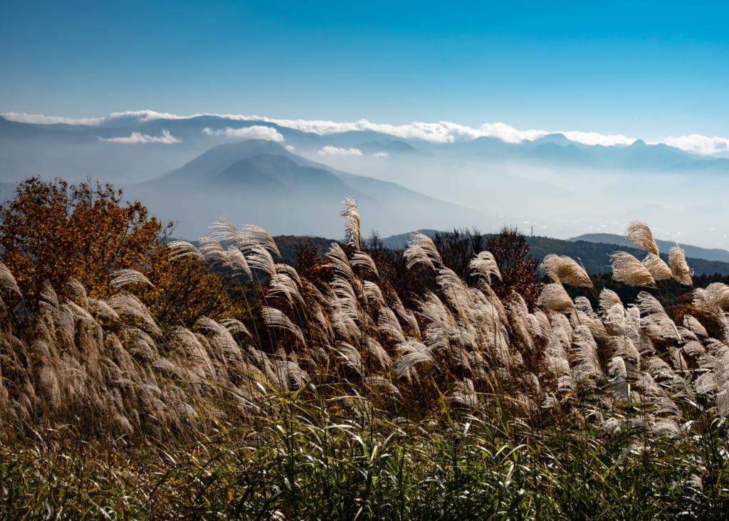 Las vistas desde la zona superior de la montaña en Shin-etsu
