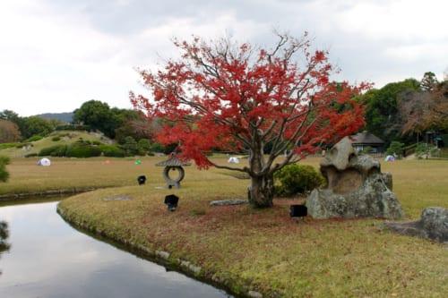 Follaje otoñal en Korakuen, Okayama, Isla de Honshu, Japón