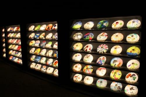 Decoraciones de la iluminación en Korakuen, Okayama, Isla de Honshu, Japón