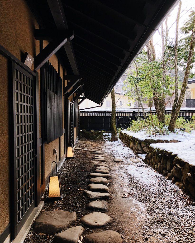 Entrada del Ryokan en el Kurokawa Onsen en Kumamoto, Kyushu, Japón