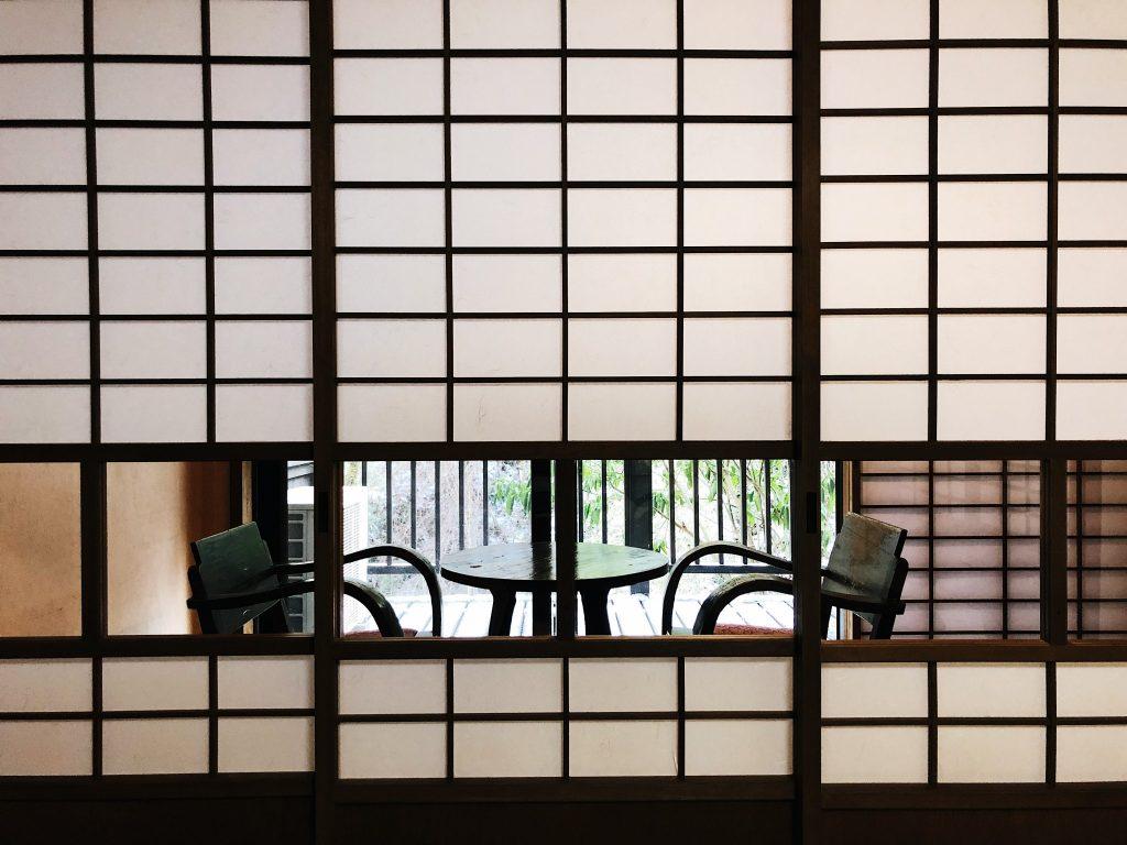 Comedor del ryokan en el Kurokawa Onsen en Kumamoto, Kyushu, Japón
