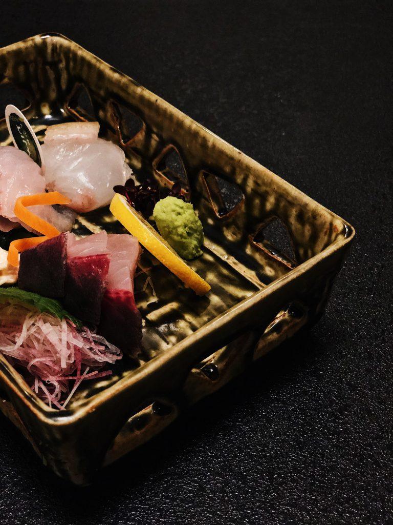 Comida en el Kurokawa Onsen en Kumamoto, Kyushu, Japón
