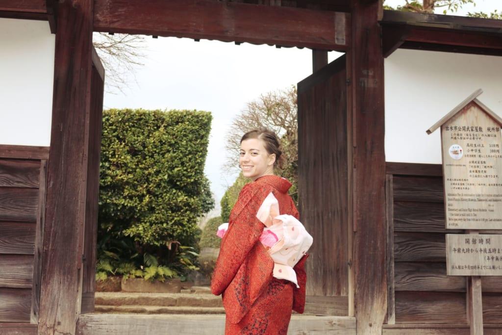Maria con kimono, en la ciudad Samurai, Izumi, Kagoshima, Japón
