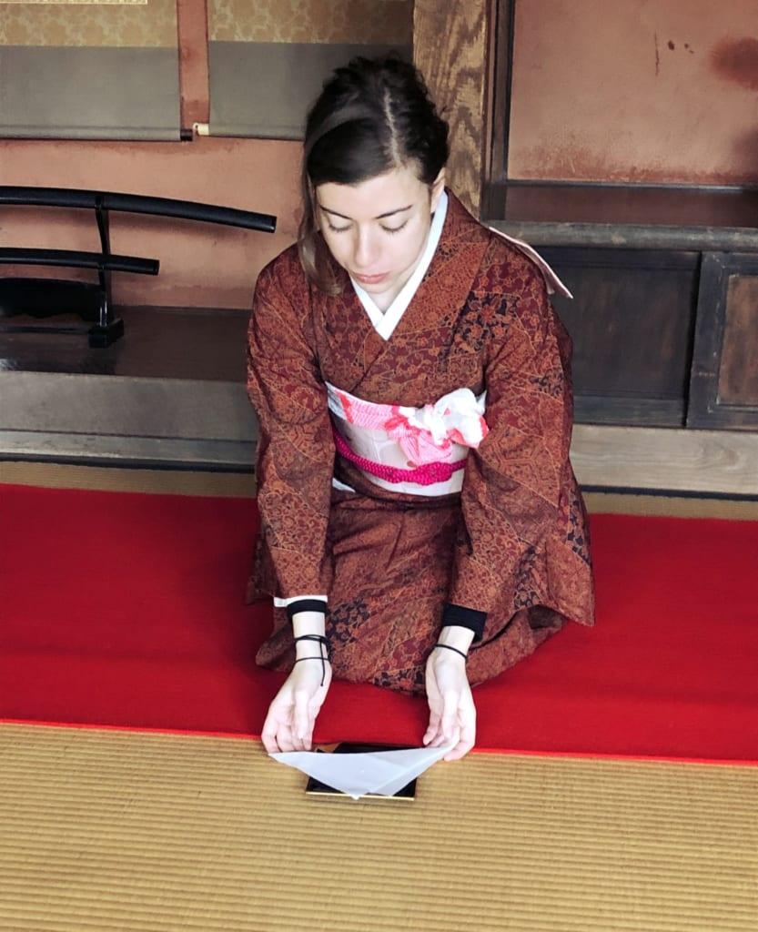 Experiencia de la ceremonia del té, Ciudad samurai, Izumi, Kagoshima, Japón