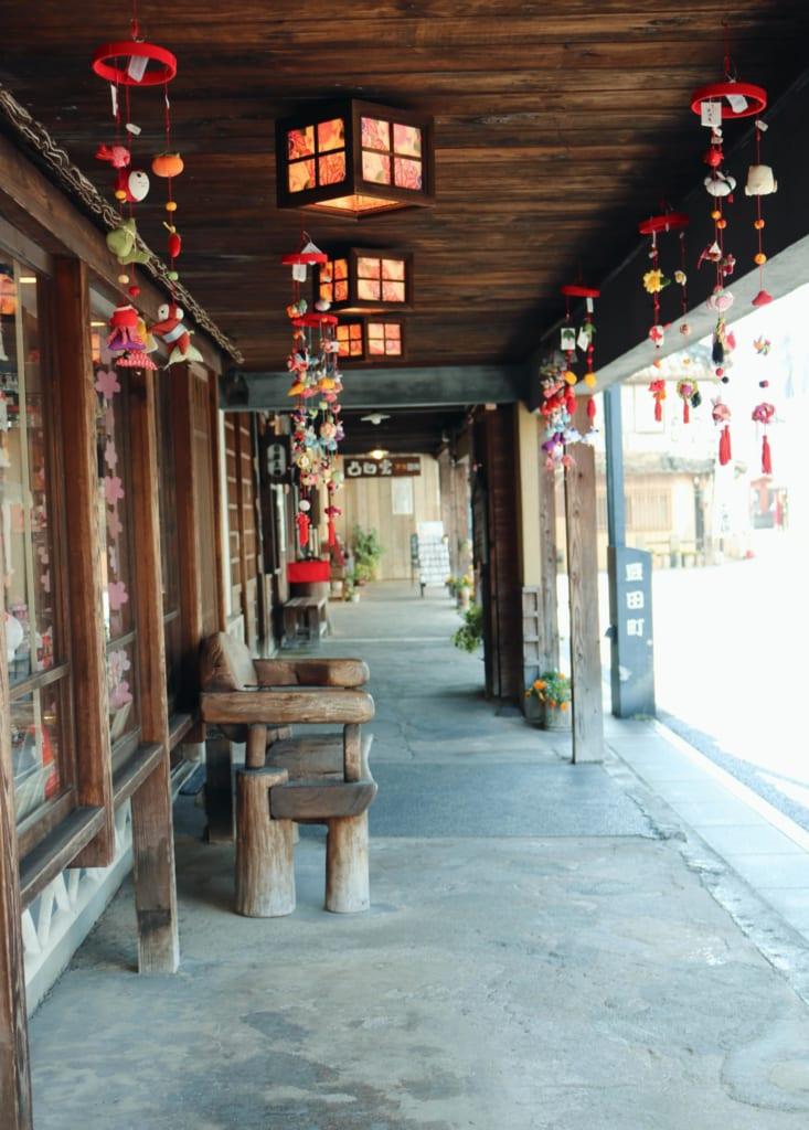 Una calle de Mameda Town, Hita, Oita, Japón