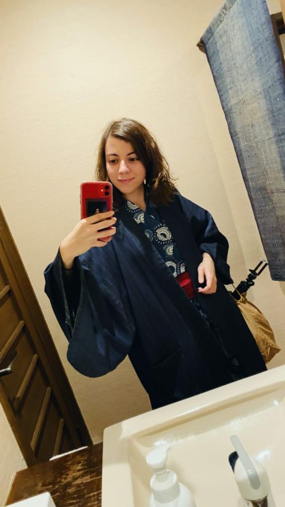 Maria con yukata del hotel Tensui