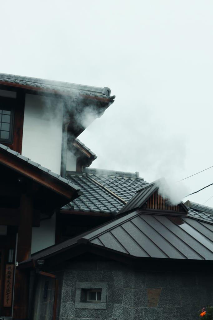 Paisaje del pueblo de las aguas termales