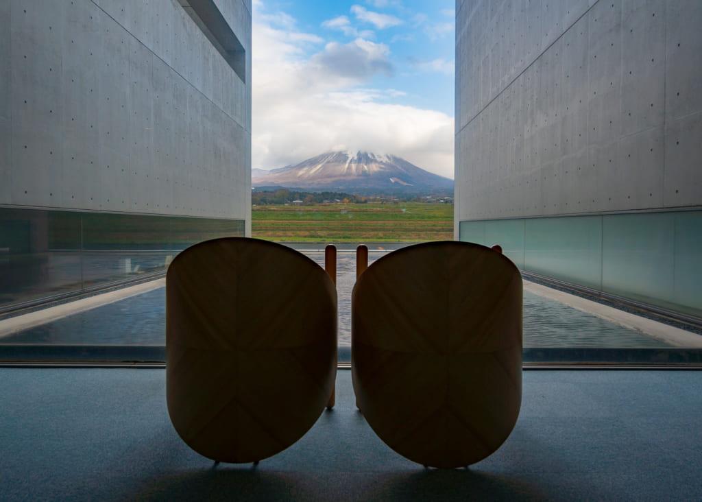 Una vista del Monte Daisen desde el museo de fotografía Shoji Ueda
