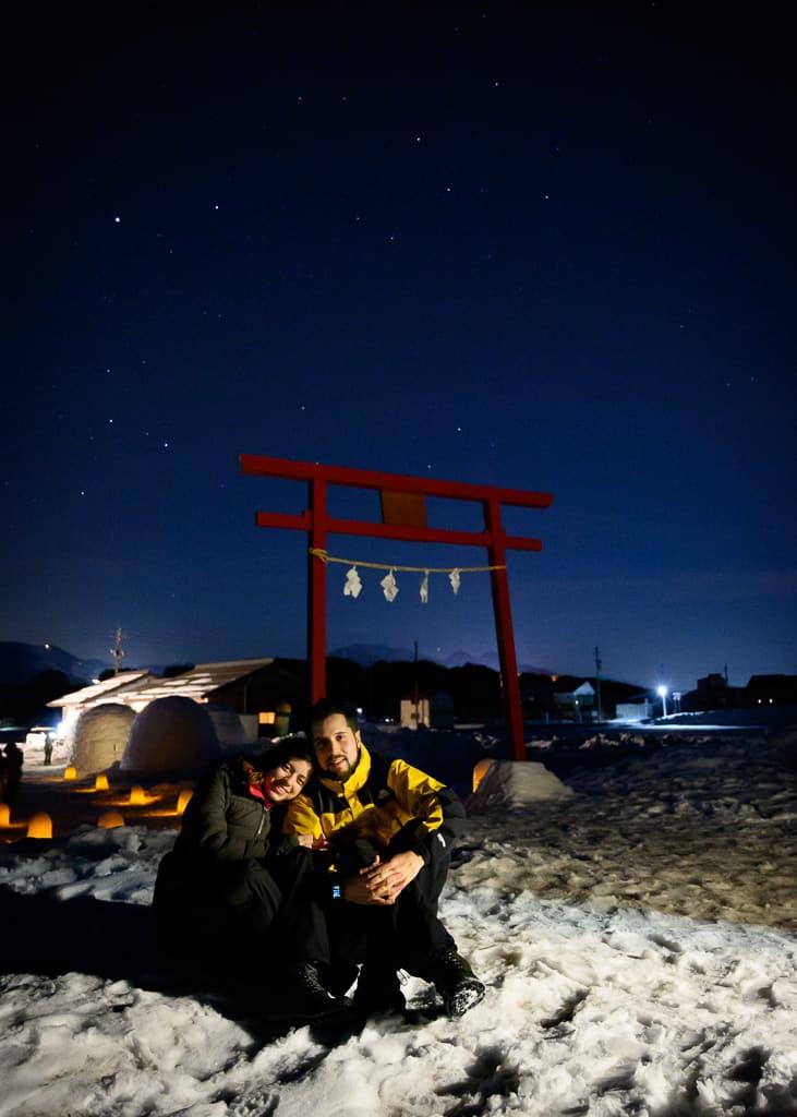 Vistas nocturnas con Maria y Hernán en Iiyama