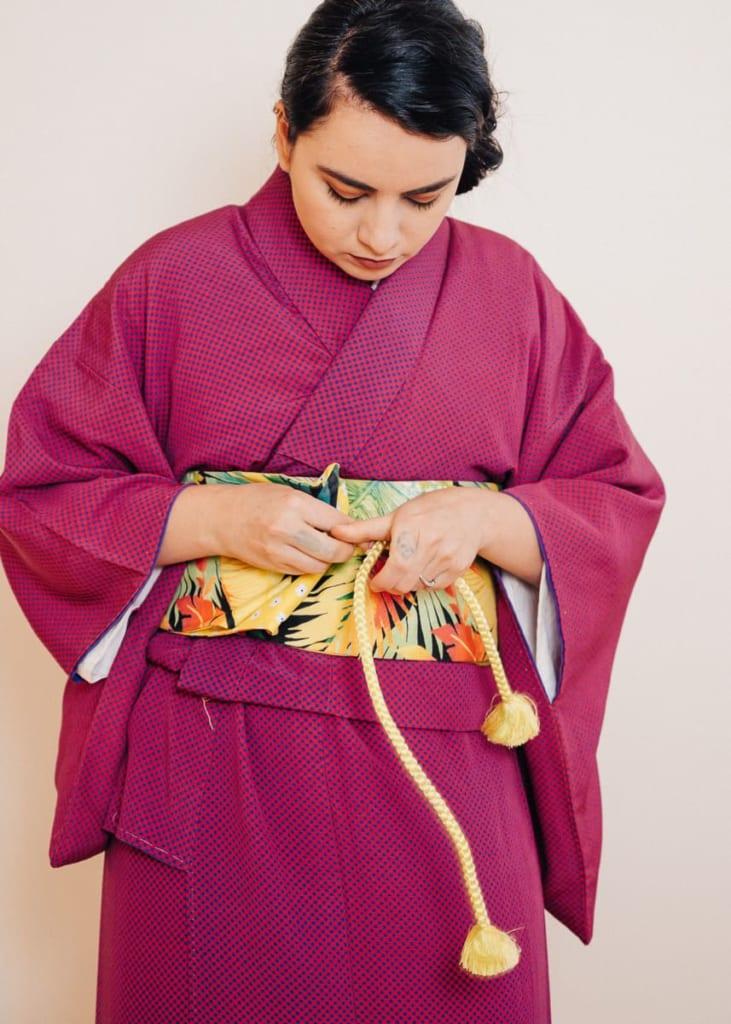 Terminando de decorar el hanhaba obi
