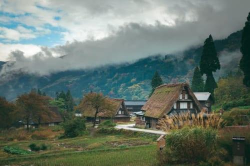 Vista general del pueblo de Gokayama, Toyama, Japón