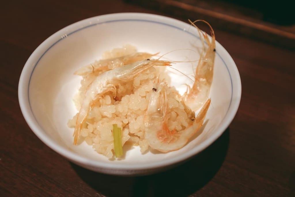 Las gambas blancas de Toyama con arroz.