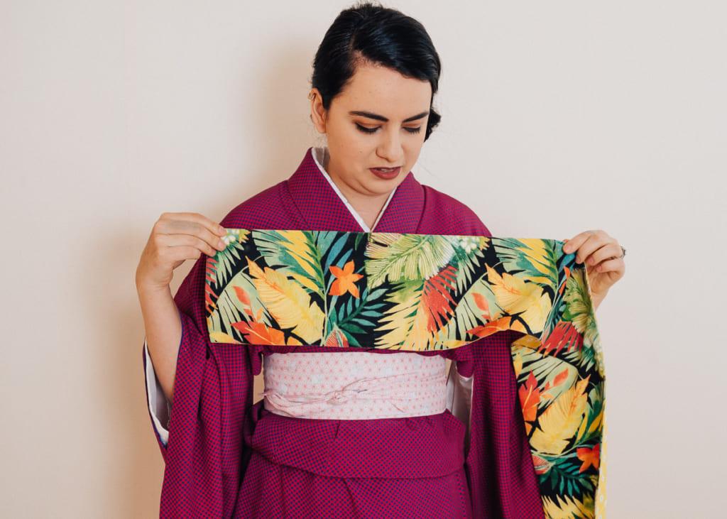 Mide 45 centímetros desde el final del hanhaba obi