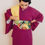 pon el obi encima de tu hombro y haz un dobladillo de 45 cm