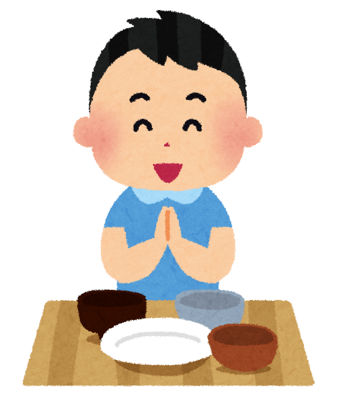 Un chico agradeciendo por la comida