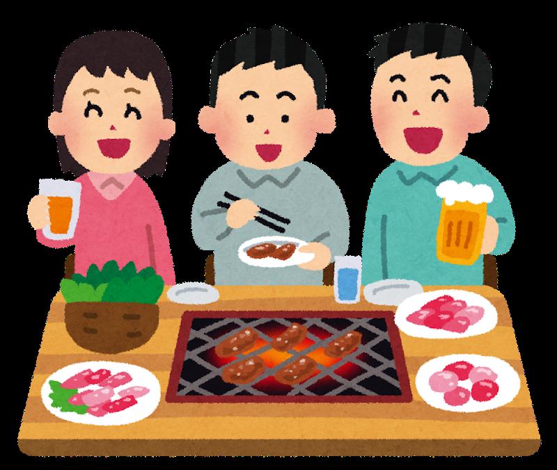 Gente comiendo junta alrededor de una mesa con yakiniku