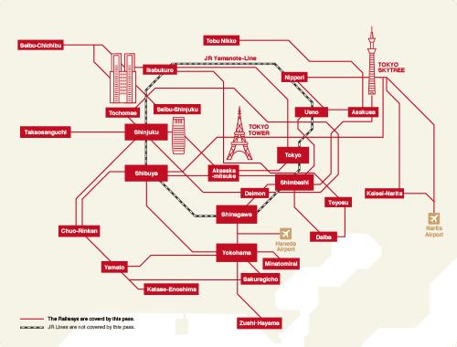 Mapa de Tokio donde se incluye el pase con descuento