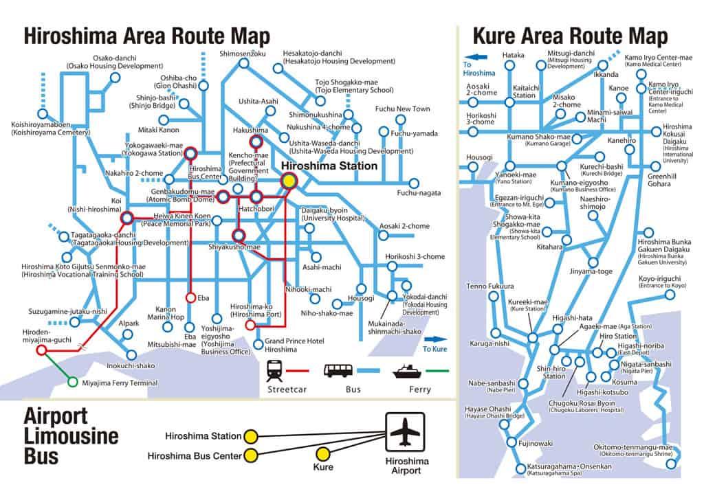 Mapa del pase de descuento en Hiroshima