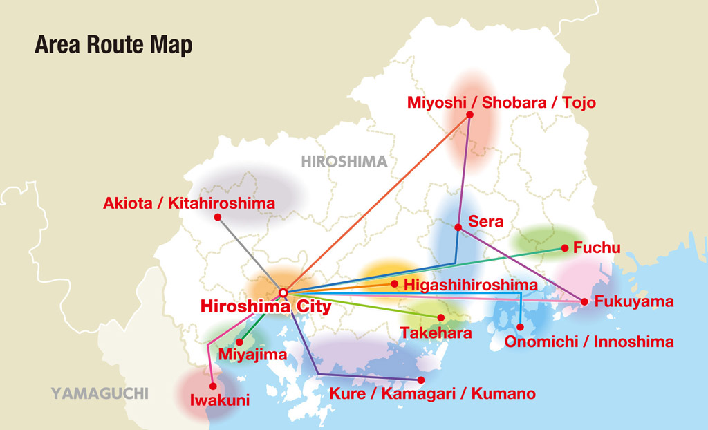 Mapa del pase de Hiroshima Wide Area Pass