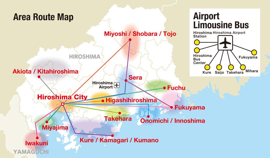 Mapa del pase de Hiroshima Wide Area Pass con el Airport Limousine